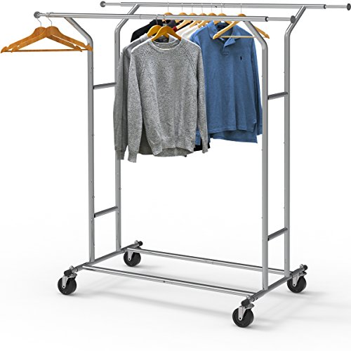 Heavy Duty Double Rail Garment Rack Folding Rolling