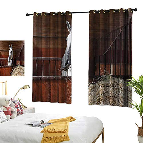 Davishouse Thermal Insulated Drapes for Kitchen/Bedroom Mare Eating Hay in Stable Darkening and Thermal Insulating 72