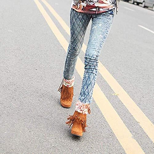 Corto 3 Stivali colore A Dimensione Di Neve Frange Moda In Da Pelle Donna Scamosciata Tubo Uk Tacco Con Qiusa Giallo Piatto Beige 0RFfqwq