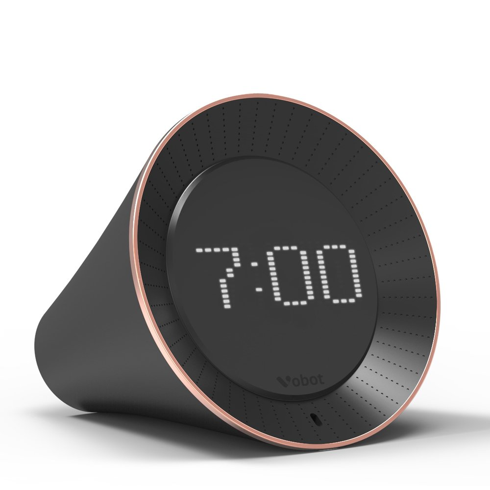 Docooler Vobot Smart Alarm Clock Speakers with Amazon Alexa Voice Service WiFi 3.5mm AUX Out LED Display Black