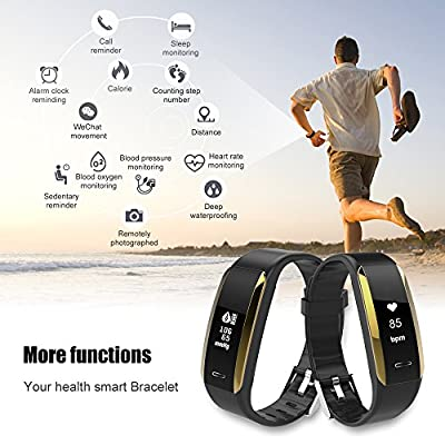 KINGBERWI Fitness Tracker, Activity Tracker with Heart Rate Monitor, IP67 Waterproof Bluetooth Smart Bracelet with Sleep Monitor, Step Counter Pedometer Watch for Kids Women Men