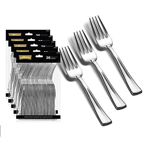 130 Silver Plastic Forks | Heavy Duty Plastic Silverware Forks | Fancy Plastic Cutlery | Elegant Disposable Forks Pack | Bulk Disposable Flatware | Plastic Utensils Set | Disposable Silverware Cutlery