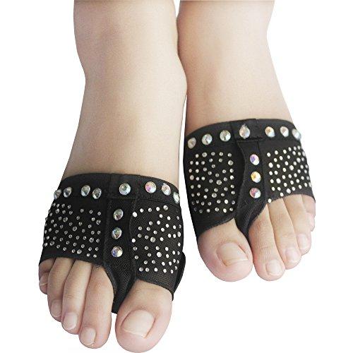 Yaling International Trading Limited ISYITLTY Frauen Ballett Bauchtanz lyrische halbe Sohle Pfoten Pad Fuß Thong Dance Paw Schuhe 8 Styles Schwarzer Strass