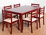 T2A Duoflex Wooden Six Seater Dining Table Set (Mahogany Finish, Brown)