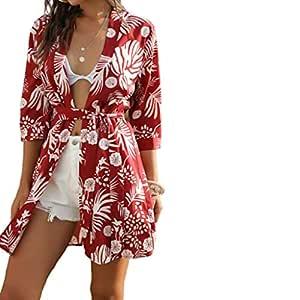 LINYIOU77 Summer Beach Dresses for Women Retro Flower Printed Boho V-Neck Short Sleeve Stitching Irregular Dress (XL, Red)