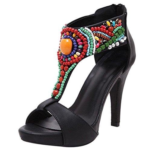 QIYUN.Z Dedo Del Pie Abierto Plataforma De Bohemia De Las Mujeres Calientes Tacones De Aguja De La Vendimia Del Verano De Los Zapatos De Tacon Alto Negro