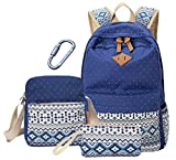 Codyna Canvas Backpack (Set 3) with Carabiner [ Dot Pattern ] for Women Girls (Blue)