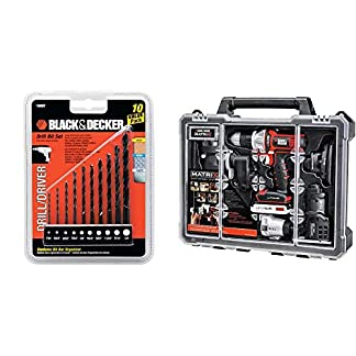 BLACK & DECKER 10 Piece Drill Bit Set with BLACK & DECKER BDCDMT1206KITC Matrix 6 Tool Combo Kit with Case