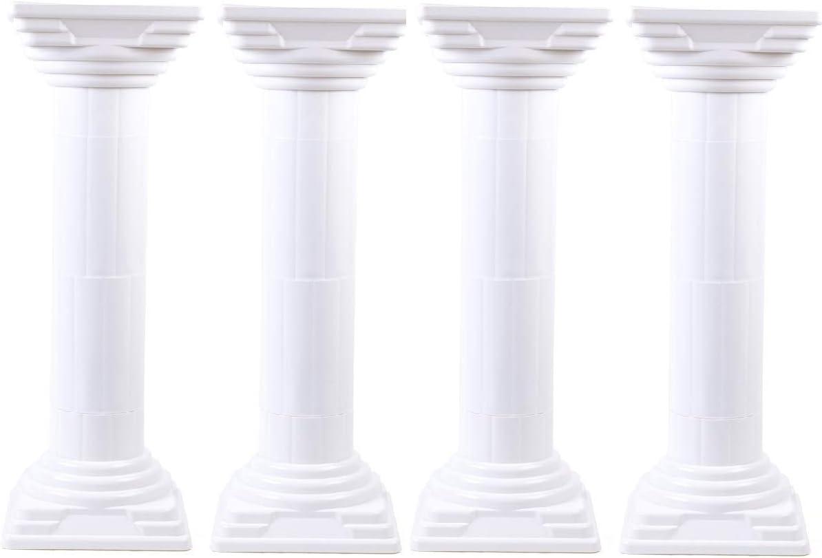 WUPYI 4 Pack Elegant Wedding Roman Column Set,Roman Pillars Flower Pot Columns Pedstal Stand Wedding Road Decorative Hollow Columns,31Inch,Adjustable Height (31 Inch)
