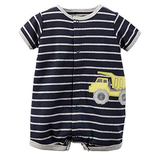 Carter's Baby Boys' Snap-Up Cotton Romper (Newborn, Navy/Dump Truck)