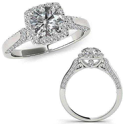 1 Carat G-H Diamond Cushion Lovely Halo Beautiful Engagement Promise Wedding Band Ring 14K White Gold