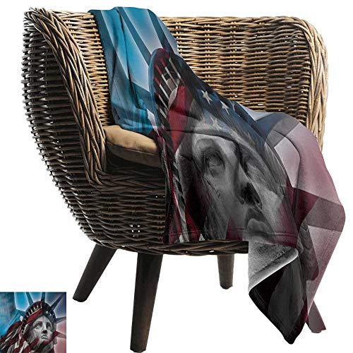 BelleAckerman Travel Blanket,United States,Statue of Liberty and American Flag Double Exposure Justice Democracy Freedom,Multicolor,Cozy Hypoallergenic, Easy to Carry Blanket 50