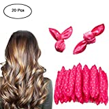 Zinnor Hair Curlers Rollers No Heat Damage Overnight Sleep Flexible Foam Sponge Hair Curlers Women Girl Magic Hair Curlers Without Heat Required for Long Medium Hair Home or Travel- Pink
