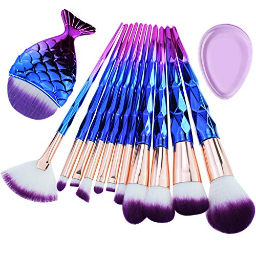 Start Makers Diamond Handle Makeup Brush Set with Big Fish Tail for Foundation Eyeshadow Lips – 12 Pieces
