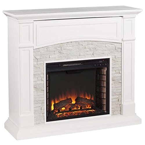 (Pemberly Row Faux Stone Electric Fireplace TV Stand)