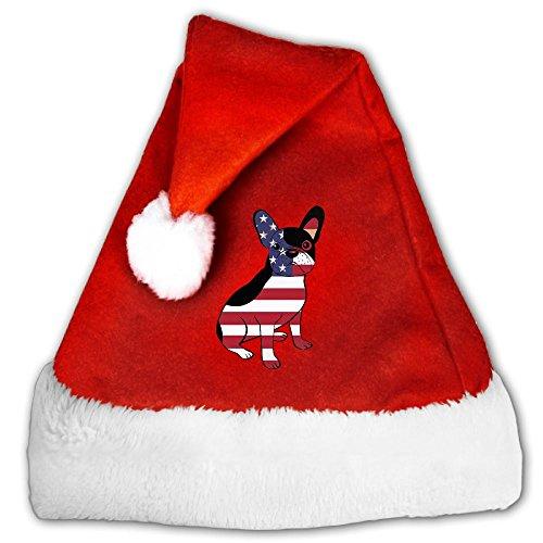 Gask-L American Flag French Bulldog Santa Hat For Men & Women Velvet Christmas Hat With Plush Trim & Comfort Liner (Forrest Gump Family Costume)