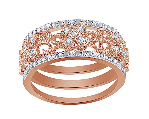 Real Diamond Flower Filigree Three Stackable Band Set in 14K Gold Over Sterling Silver (0.10 Cttw)