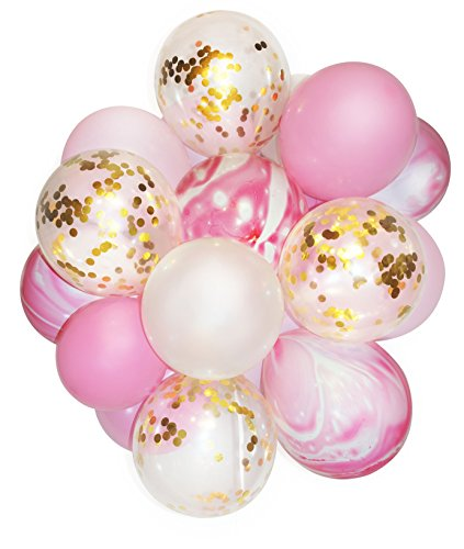 Pink and Gold Party Decoration Marble Confetti Balloon (Thickened 12