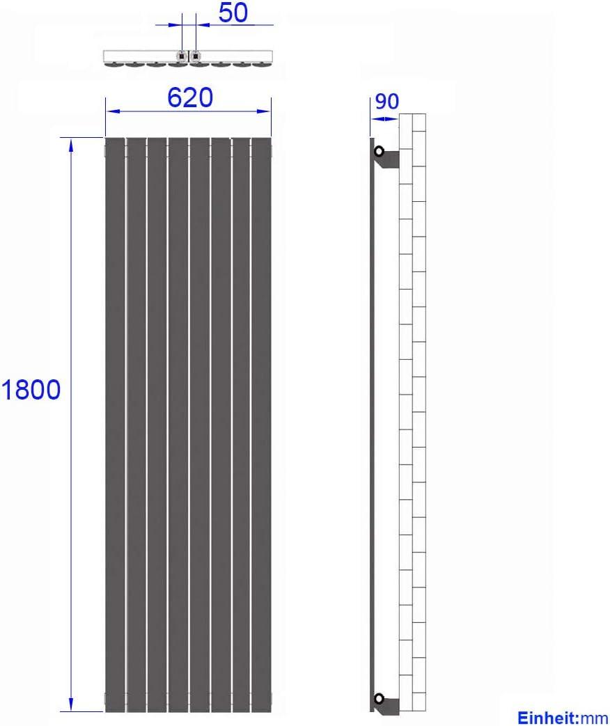 WELMAX Design Flach Heizk/örper 1800x620 mm Einreihig Vertikal Anthrazit Paneelheizk/örper Mittelanschluss Heizung