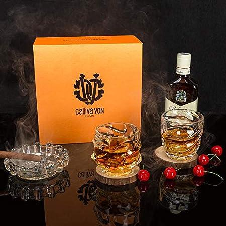 calliva von Vaso de Whisky, Copas de Whiskey Cristal Sin Plomo, 320 ml, 4 Piezas