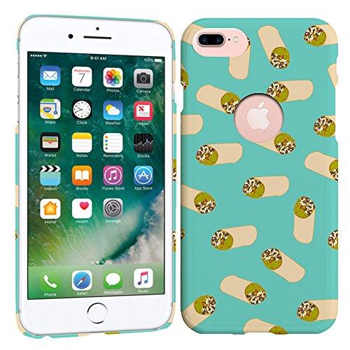 iPhone 7 Plus Case / iPhone 8 Plus Case - Teal Burrito Pattern Hard Plastic Back Cover. Slim Profile Cute Printed Designer Snap on Case by Glisten