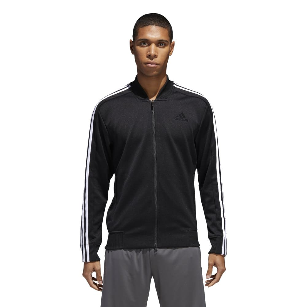 adidas Men's Sport ID Track Bomber Jacket Black/White Medium by adidas (Image #1)