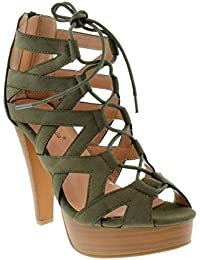 Table 8 Peep Toe High Heel Lace up Strappy Pumps