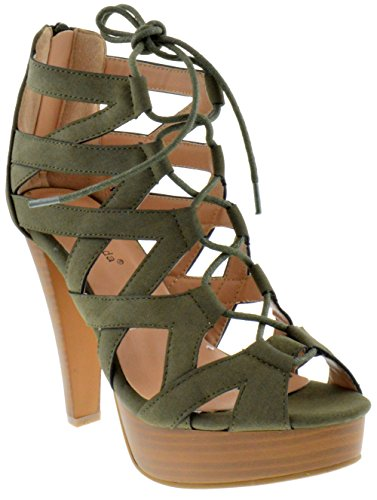 Table 8 Peep Toe High Heel Lace up Strappy Pumps Olive 6.5