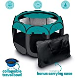 Unleashed Pets Portable Foldable Pet Playpen + Carrying Case & Collapsible Travel Bowl | Indoor / Outdoor use | Water resistant | Removable shade cover