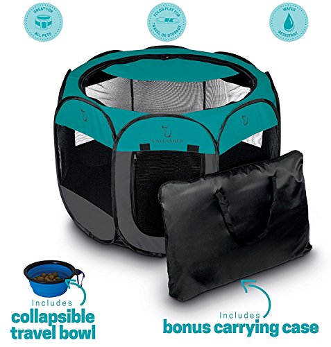 Unleashed Pets Portable Foldable Pet Playpen + Carrying Case & Collapsible Travel Bowl | Indoor / Outdoor use | Water resistant | Removable shade cover | Dogs / Cats / Rabbit | Available In 2 Sizes Small Animal Playpen Mat