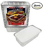 Pactogo 2 lb. Aluminum Foil Loaf/Bread Pan Tins w/Foil Board Lid (Pack of 25 Sets)