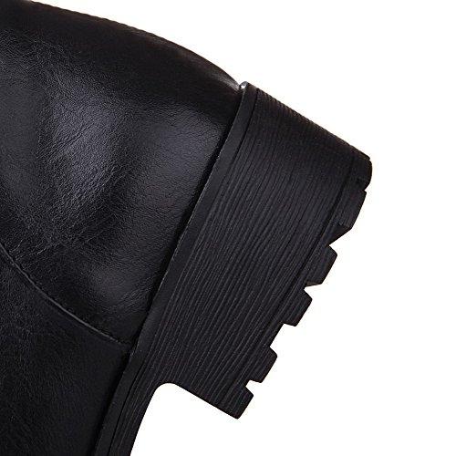 Allhqfashion Women's Black Soft Zipper top Low Material Boots Heels Solid Low rrdZqf