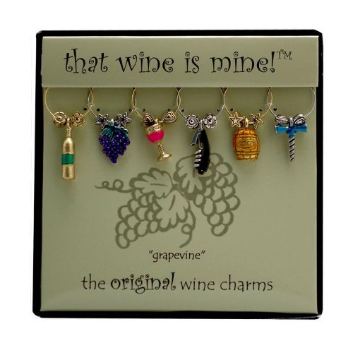 Wine Things WT-1409P Grapevine, Painted Wine Charms, Fits neatly Around stem, Multi-Color -