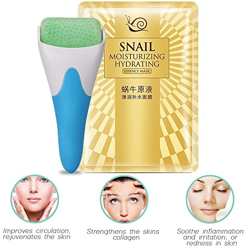- Cooling Ice Roller for Face & Eye, Puffiness, Migranes, Pain Relief and Minor Injury, Skin Care Products + Bonus Hydrogel Snail Moisture Face Mask Sheet