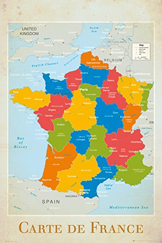 Map Of France Poster.France Map Poster 24 X 36in