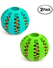 Bojafa Dog Toys Balls (2 Pack) Rubber Durable Dog Ball Teeth Cleaning Chewing Tough Dog IQ Toys for Dog Teeth Cleaning/Chewing/Playing/Treat Dispensing