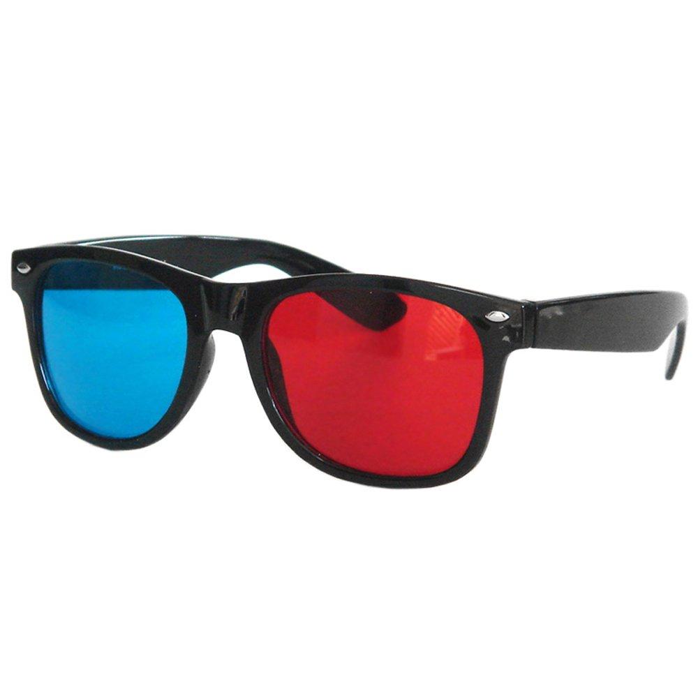 Accessoryo – Lunettes 3D/3 dimensions stéréoscopiques Style Wayfarer Geek Rouge Et Bleu b2U37