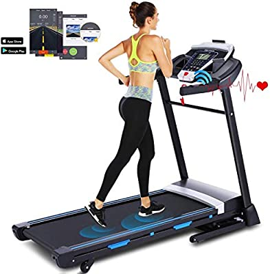 Ultrar 3.25HP Folding Treadmill, Electric Automatic Incline Treadmill, Walking Jogging Running Machine with APP Control for Home Gym Cardio Fitness Exercise Trainer