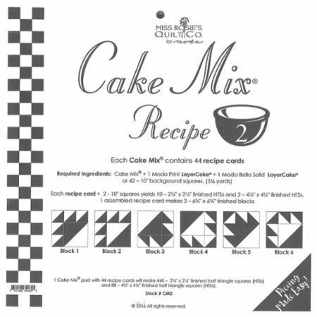 moda ケーキミックスレシピ#2 44枚のレシピカード450 2-1/4` ×2-1/4` 終了1/2スクエア三角形