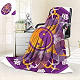 Soft Warm Cozy Throw Blanket Mandala Background Yoga Symbols Positions Yin Yang Zen Meditation Pattern Purple,Silky Soft,Anti-Static,2 Ply Thick Blanket. (90''x108'')