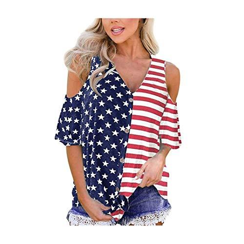 Women's V Neck Mesh Panel Blouse 3/4 Bell Sve Loose Top T-Shirt American Flag Print Star Patriotic Tees