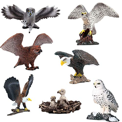- Lana Toys Birds Model Winged Owl Peregrine Falcon Eagle Snow Owl Animal Figure Suitable for Animal Zoo Dinosaur World Scene Plastic Model Decor Collector Toy Gift