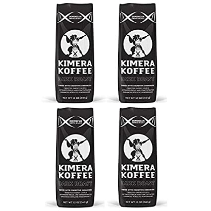 Dark Roast, Nootropic Infused Ground Coffee (12oz), Rich, Organic Coffee Beans with Cognitive Enhancers to Boost Energy Levels, Brain Function, Memory, Focus, and Athletic Performance - Kimera Koffee