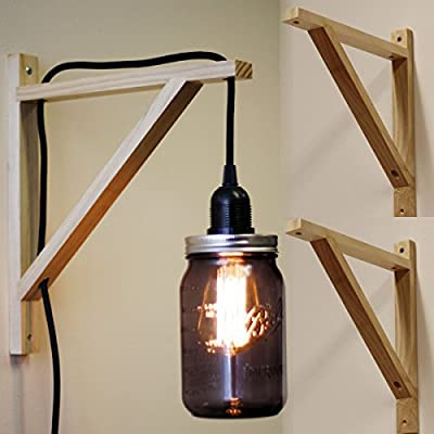 Set of 2 Wall Mount Wood Bracket Scone Pendant Lamp Kit for DYI Project , Natural Color