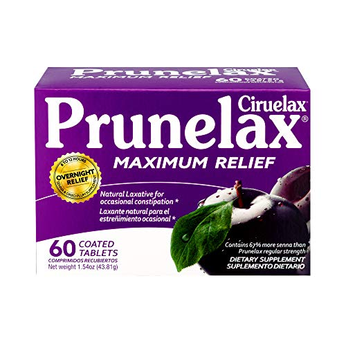 Prunelax Ciruelax Natural Laxative Maximum Relief Tablets, 60Count, Pack of 6
