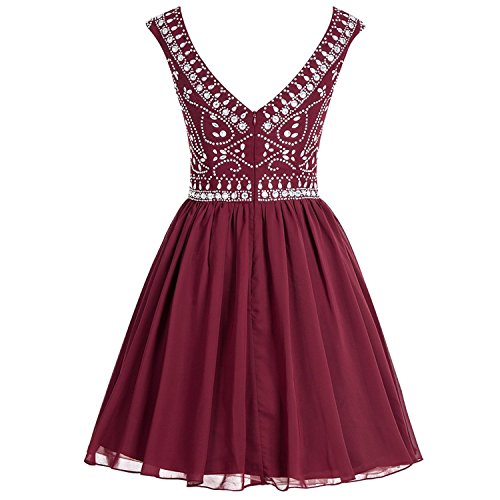 Sleeve Short Gowns Luxury 2016 Beaded Prom Purple Fanciest Dresses Women's Cap Homecoming TqwvXqEf