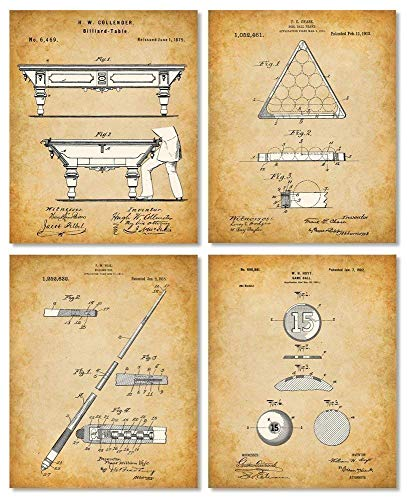 Original Pool Billiards Patent Art Prints - Set of Four Photos (8x10) Unframe - Makes a Great Gift Under $20 for Pool Players, Game Rooms or Man Caves