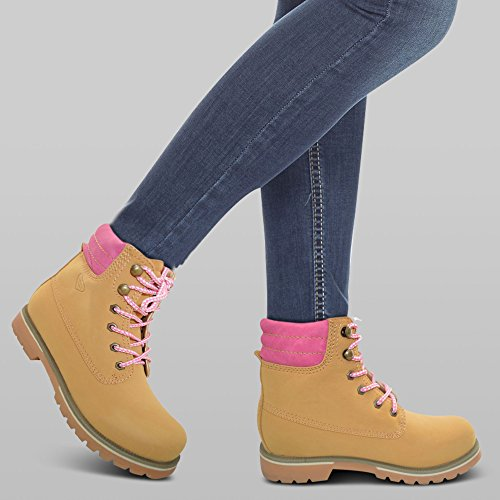Women 8 Boots Heel Pink 3 Low Retro Round Xelay Booties Ankle Tan up Shoes Combat Lace Toe Size d6xwqTZ