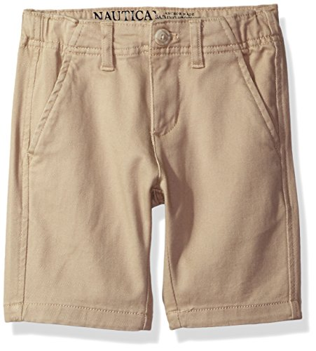 Nautica Boys' Big Solid Flat Front Short, Sand Cove, 10