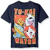 Yo Kai Big Boys' Short Sleeve T-Shirt Shirt, Navy, Medium/10-12